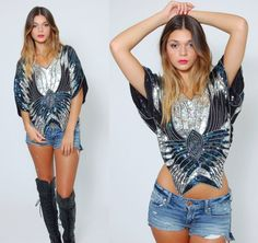 Vintage 80s SEQUIN Top Black & Silver BUTTERFLY Silk Glam Top by LotusvintageNY