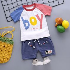 New Summer Boy Home Service Sets Cotton Letter Print Short Sleeve T-Shirt Shorts Casual Outfits Clothes Baby Boy Clothing Sets, Kids Clothes Boys, Toddler Boy Outfits, Baby Outfits Newborn, Kids Outfits, Casual Outfits, Baby Boy Fashion, Kids Fashion, Baby Boy Dress