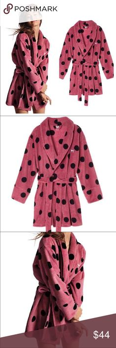 Vs Pink Soft Begonia Robe Brand new in packaging! Polka dot Xs/S robe...very soft and comfy...has silver Dog logo on the left front side... PINK Victoria's Secret Intimates & Sleepwear Robes