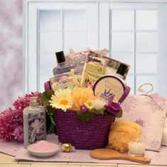 The Healing Spa Womens Gift Basket | Great Mothers Day Gift Idea! Relax and send our fabulous Healing Spa gift assortment and provide everything she'll need to be happy, relaxed and rested!. This gorgeous floral and nature planter is filled to overflowing with Healing Spa treatments and more. Include a free personalized gift message for your clients, friends, and loved ones..  #Organic_Stores #Single_Detail_Page_Misc
