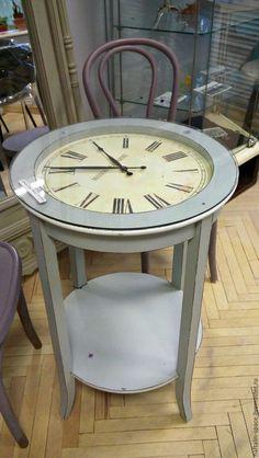 """Мебель ручной работы. Ярмарка Мастеров - ручная работа. Купить Столик-часы """"Алиса"""". Handmade. Комбинированный, стол, стекло, дерево"""