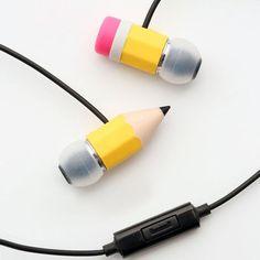 Cute school ear buds-pencil goes through your head:)