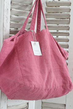 Diy inspiration >> Ana & Cuca Pink Linen Tote at White Nest Market! Big Tote Bags, Purses And Bags, Diy Sac, Linen Bag, Fabric Bags, Market Bag, Cotton Bag, Casual Bags, Cloth Bags