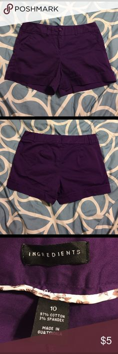 Purple shorts💜 Never worn! Washed once, excellent condition 💖 97% Cotton 3% spandex great quality 👌🏼 2 front pockets and no back pockets Made by Ingredients Shorts