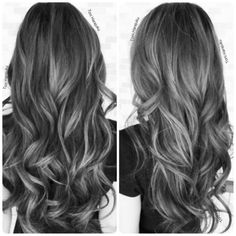 Super Hair Color Gray Salons Ideas The most beautiful hair ideas, the most trend hairstyles on Hair Color Dark, Ombre Hair Color, Hair Color Balayage, Cool Hair Color, Purple Hair, Gray Hair, Black Hair Grey Highlights, Grey Hair Colors, Black To Grey Ombre Hair