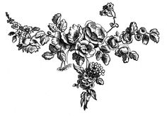 Antique Graphic Engravings - French Roses - The Graphics Fairy.  Also green, light red and grey.