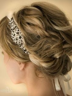 wedding headbands with ribbons | Wedding Ribbon Headband With Side Accent Rhinestone Brooch | Bridal ...