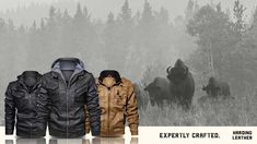 Modern styles for the rugged man. Shop now at Harding Leather! 300 Workout, Men Accesories, Accessories, Dress Up Jeans, Riders Jacket, Rugged Men, Stylish Jackets, Mens Gear, 19 Days