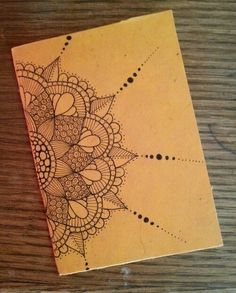 Sketchbook cover, with just half a mandala on the front. Doodle Drawing, Mandalas Drawing, Zentangle Drawings, Doodles Zentangles, Zen Doodle, Zentangle Patterns, Doodle Art, Mandala Design, Mandala Art