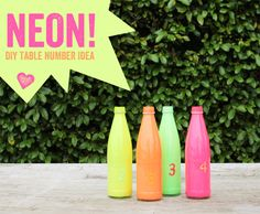 neon-bottles-diy-centerpiece. Tutorial, so easy. Probably can figure out to use it for something!