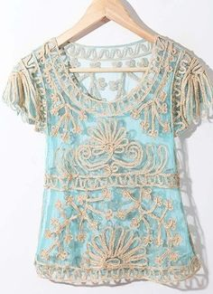 Blue Crochet Lace Embroidery Short Sleeve Chiffon Blouse