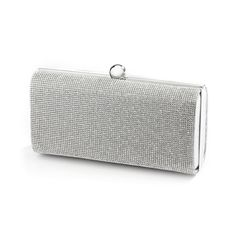 Lights, camera, action! Mariell's fiery crystal bridal clutch evening bag has Academy Award winning glam! This micro crystal minaudiere bridal purse has metallic satin on the back. Includes shoulder a