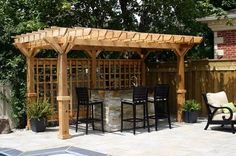 """Wooden pergola with trellis panels. Paul and I may do the """"generic"""" version of this little Tiki Bar!"""