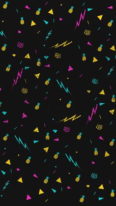80s style Black Base Wallpaper with Pink