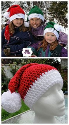 Crochet Beanie Ideas Crochet Santa Clause Pom Pom Hat Free Crochet Patterns - Easy Crochet Santa Clause Pom Pom Hat Free Crochet Patterns for babies, newborn - toddlers Crochet Santa Hat, Beau Crochet, Crochet Christmas Hats, Bonnet Crochet, Christmas Crochet Patterns, Crochet Gifts, Crochet Baby, Knit Crochet, Crochet Mittens