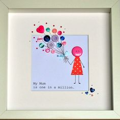 """Personalised Button & Balloon Mum Framed Artwork 