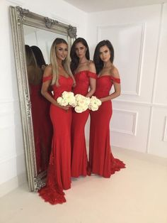 2017 Bridesmaid Dresses,Red Bridesmaid Dresses,Sexy Off Shoulder Bridesmaid