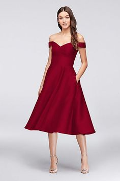 burgundy apple red Off-the-Shoulder Tea-Length Bridesmaid Dress from David's Bridal