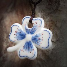 Hand-Painted Blue Clover Necklace