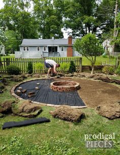 DIY Fire Pit ~ Backyard Budget Decor - Prodigal Pieces - Laying Fire Pit Brick and Landscaping Fabric - Fire Pit Area, Diy Fire Pit, Fire Pit Backyard, Fun Backyard, Fire Pit Gazebo, Fire Pit Gravel Area, Fire Pit Off Patio, Outdoor Fire Pits, Wooded Backyard Landscape