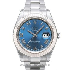 Rolex Datejust SS Blue Roman ASE Oversized 41mm, solid 904L steel, 18K white gold PVD plated MOVEMENT Rolex Swiss Clone 3156, mechanical, self-winding, Nano-Oil lubed DIAL SuperLuminova™ markers BEZEL Fluted Fixed (does not move) WATER-RESISTANCE Waterproof to 50 meters, screw down crown with rubber seals CRYSTAL Swiss Sapphire anti-reflective, Cyclops 2.5x