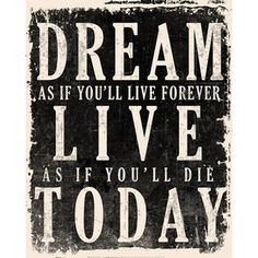 Dream, Live, Today - James Dean Quote at Fast Frame Prints