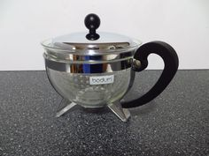 Bodum Chambord Tea Pot Teapot 34 oz Black - Chrome & Glass Made in Switzerland #BODUM