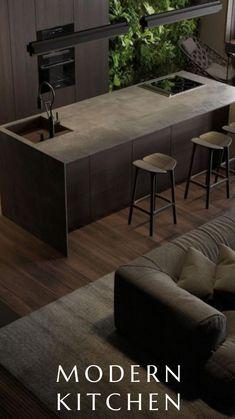 Home Room Design, Dream Home Design, Modern House Design, Modern Interior Design, Modern Decor, Luxury Kitchen Design, Interior Design Living Room, Industrial Style Kitchen, Cocinas Kitchen