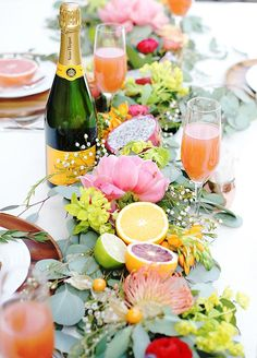 Gorgeous tangerine & hot pink table #Table, #TableScapes, #Centerpieces, #Centerpiece, #Setting, #Settings