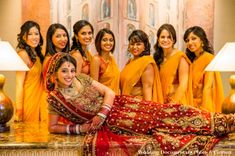 Indian wedding bridal party portrait with indian bride
