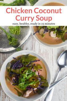 This 30-minute soup uses coconut milk and red curry paste to create an easy and super flavorful curry soup packed with chicken and vegetables. #dinner #lunch #soup #freezerfriendly #makeahead #quickandeasy