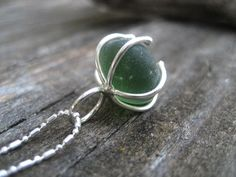 Sea Glass Necklace  Dark Green sea glass by SimpleLifeDesigns, $25.00