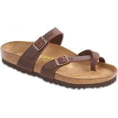 Birkenstock Women's Mayari Habana Oiled Leather Slide Sandals ($125) ❤ liked on Polyvore featuring shoes, sandals, brown, brown shoes, lightweight shoes, slide sandals, leather toe ring sandals and arch support shoes