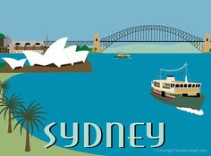 Retro Travel Poster of Sydney Harbour by natalieasingh