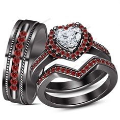 1.13 Carat Heart Shape D/VVS1 & Red Garnet Channel Set Trio Ring Set Sz 5-14 AVL