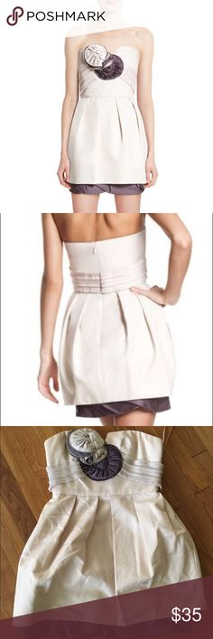 bcbg maxazria runway flower zipper strapless dress good condition. very light pilling and discoloration on one of the flowers (pictured). one small rip on one section of the flower that isn't noticeable when you tuck it in. BCBGMaxAzria Dresses Mini