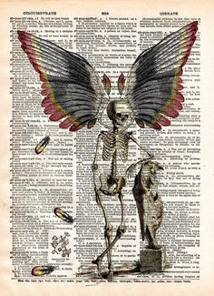 Dark Fairy, skeleton fairy, skeleton oddity, dictionary page book art print