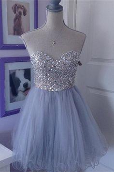 Baby Blue Short Sweetheart Homecoming   cutedressy Dresses Elegant, Pretty Prom Dresses, A Line Prom Dresses, Tulle Prom Dress, Prom Gowns, Dance Dresses, Cute Dresses, Grad Dresses, Graduation Gowns