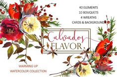Christmas Watercolor Floral Bundle by whiteheartdesign on @creativemarket