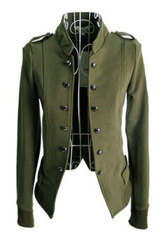Womens Vintage Rock Military Jacket - Army Green with Gold ROCKER ...