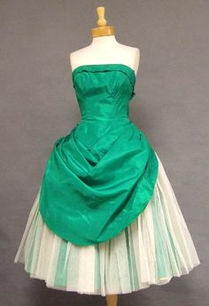 AMAZING Emerald Taffeta & White Tulle Strapless 1950's Cocktail Dress - Vintageous, LLC