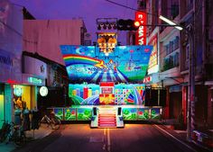 Taiwanese Transformer Trucks  Photographer Shen Chao-liang captures public scenes that are used as mobile cabarets and places of representation for dancers and singers of Taiwan's streets. Some of them can be folded with hydraulic jacks for a sophisticated show and others has very garish frescos.