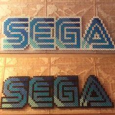 SEGA logo perler beads by tyler_plurden Pony Bead Patterns, Pearler Bead Patterns, Perler Patterns, Beading Patterns, Cross Stitch Patterns, Diy Perler Beads, Perler Bead Art, Pearler Beads, Fuse Beads