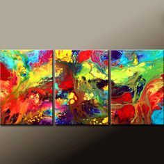 IN MY DAYDREAMS - 3pc Abstract Modern Art Painting 54x24 Original by wostudios on Etsy, $199.00