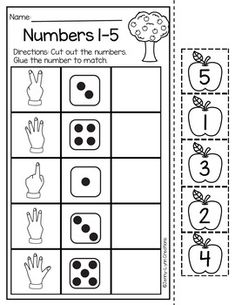 Back to School Math and Literacy Packet - Maternelle Kindergarten Math Activities, Kindergarten Math Worksheets, Preschool Activities, Number Worksheets, Math Math, Alphabet Worksheets, Numbers Preschool, Math For Kids, Apples