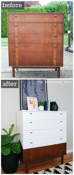 Reverse Dipped MCM Dresser before & after WD-3