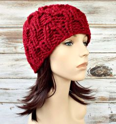 d401204dbe8 Knit Hat Red Womens Hat - Amsterdam Beanie in Poinsettia Metallic Cranberry  Red Knit Hat - Red Hat Red Beanie Womens Accessories Winter Hat