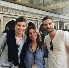 Jamie & Eddie Redmayne with a fan in Istanbul April 18 2015. Rumor has it that celebrities are in Istanbul for the launch party of Soho House Istanbul...