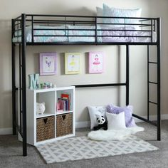 Twin Metal Loft Bed, Multiple Colors - Walmart.com