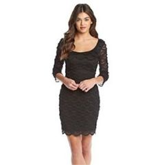 Guess Women's Kira Fringed 3/4 Sleeves Lace Dress 8